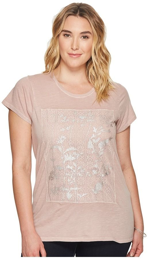 Lucky Brand Plus Size Printed Lace Tee Women's T Shirt
