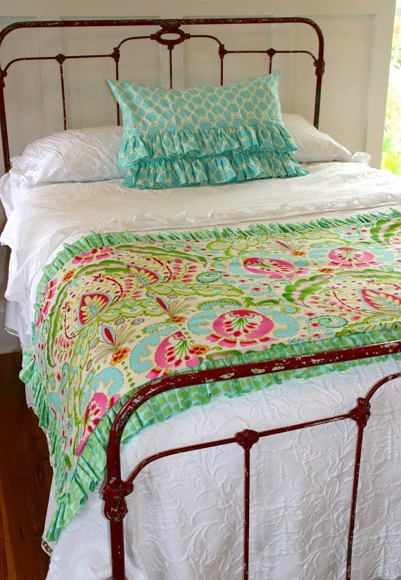 Full Size Ruffled Bed Scarf & Double Ruffle Sham added to white bedding. I love this idea! I can NEVER find bedding that I love, and this would be an easy/cheap way to switch up your bedding once in a while! (like holidays!)