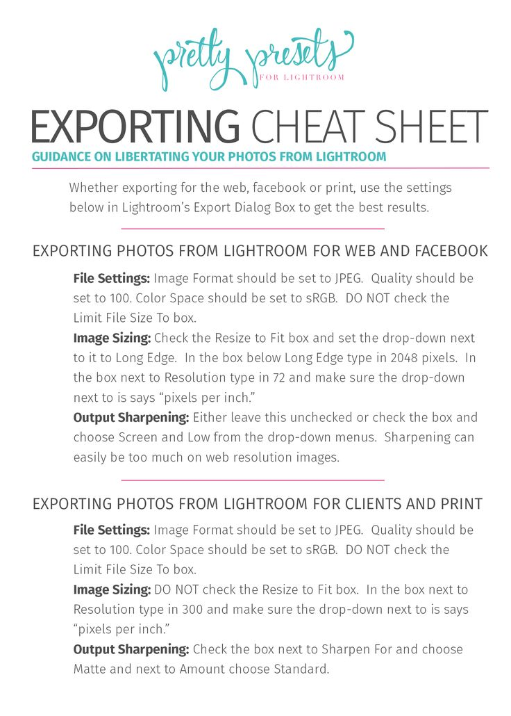 Exporting Exporting is all about taking the photos that you have developed in Lightroom and LIBERATING them to be shared with the world. In Lightroom, photos ca