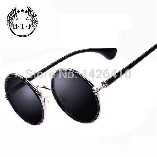 Óculos de sol redondo masculino.