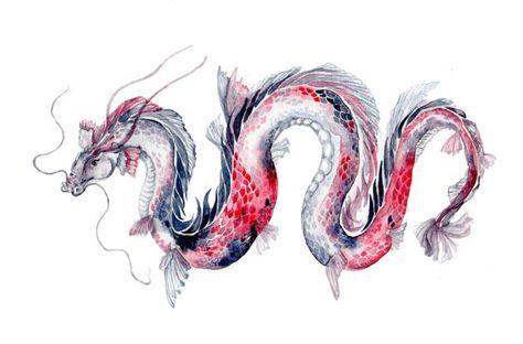 Koi Dragon Watercolor Art Print 8''x10''' koi fish by Goosi
