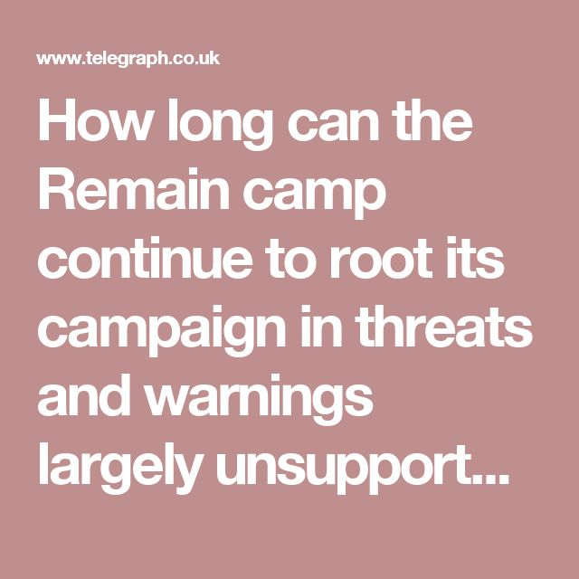 How long can the Remain camp continue to root its campaign in threats and warnings largely unsupported by cogent arguments and fact?
