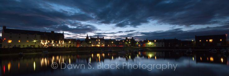 Stonehaven Harbour Twilight panorama, Scotland