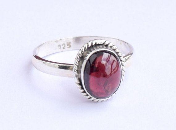 Garnet Ring Garnet Stone Ring Silver Ring Solid Sterling