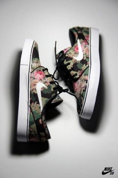 shoes, flowers, nike, nike shoes, swag, yolo, hipster, spring, summer - Wheretoget