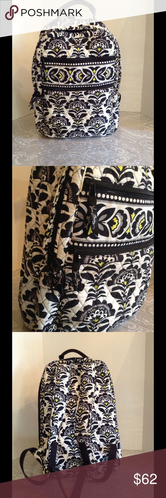 Vera Bradley backpack! Black, white and yellow. Vera Bradley backpack!  Lots of organization, separate padded zipper compartment for laptop or other items in addition to large main compartment, plus three smaller zipper compartments and two side pockets for water bottle or umbrella. This is a full size backpack. Vera Bradley Bags Backpacks