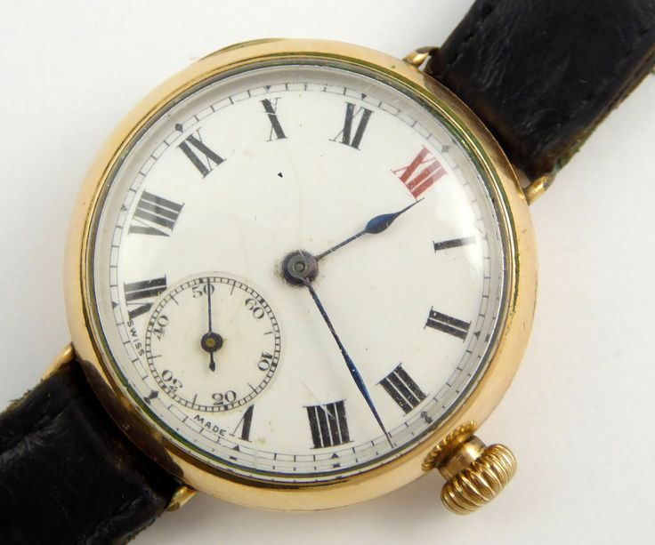 WW1 Era Gold Plated Military Trench Style Wrist Watch Swiss made Terminus - The Collectors Bag