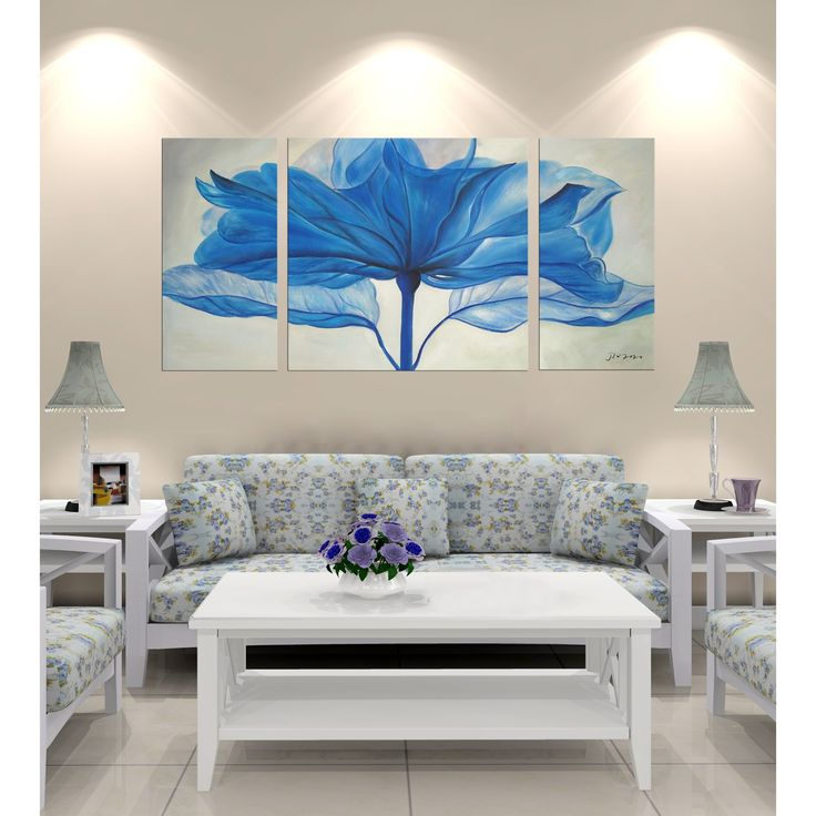 Large and dramatic this beautiful gallery wrapped canvas art print of blue flower is an easy way to add style to an empty wall