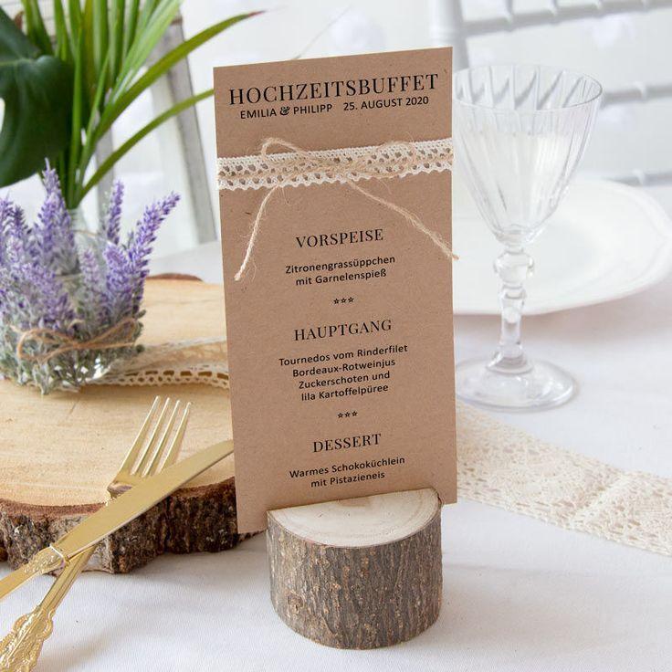 Rustikale Menükarte für Eure Hochzeit. Aus Kraftkarton und mit Spitze inkl. Textdruck