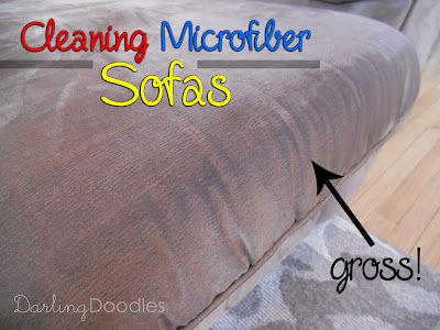 Cleaning Microfiber Sofas with rubbing alcohol, kitchen sponges and a scrub brush (Joanna here - I just did this today and it absolutely works, cushions look brand new)