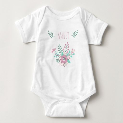 Custom Name Floral Baby Girl Jersey Bodysuit