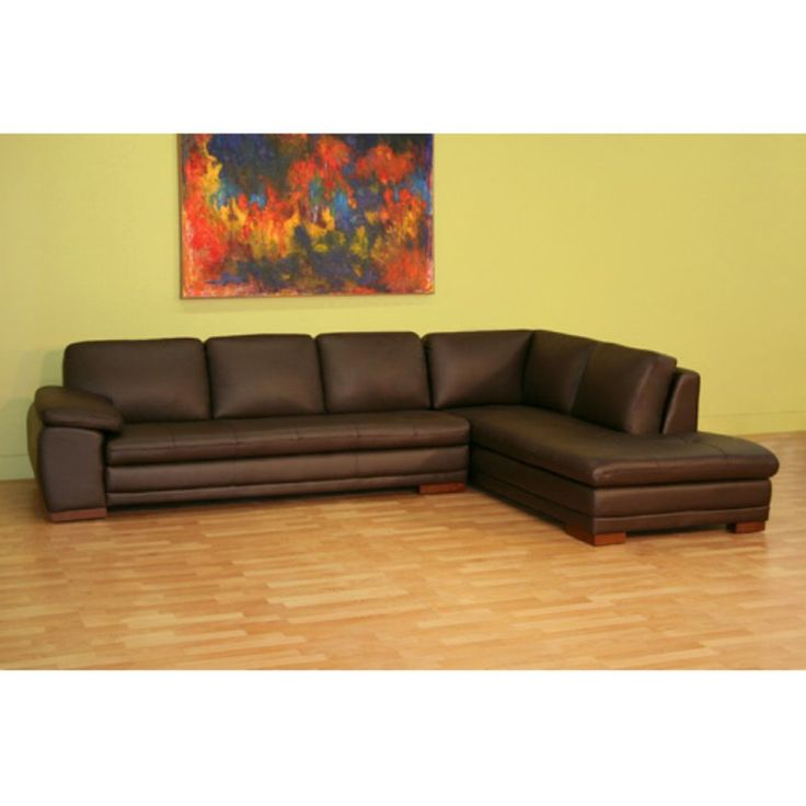 Baxton Studio Brown Leather Sectional Sofa - 625-M9805-SOFA/LYING-LEAT