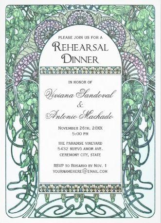 Vintage rehearsal dinner invitations. Emerald and purple Vintage Rehearsal Dinner Invitations in an art nouveau style. Part of a wedding set. #vintage_rehearsal_dinner_invitations