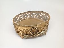Vintage Stylebuilt Oval Goldtone & Beveled Glass Jewelry Box