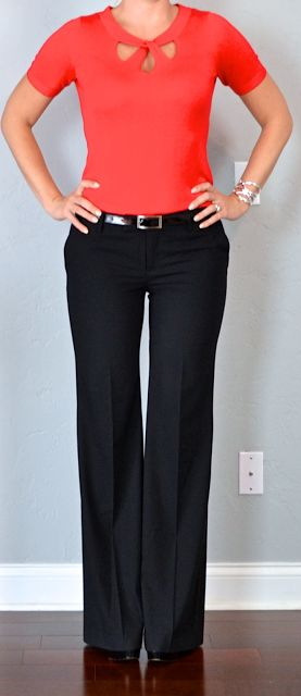 Outfit Posts: outfit post: red cutout sweater, black dress pants, black pumps