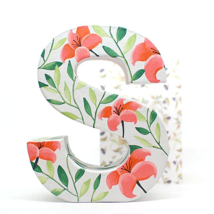 Letra de cartón decorada por Mia mandarina ❤ - www.miamandarina.es -