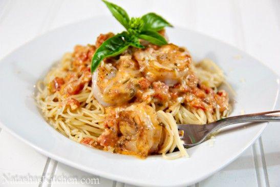 Spaghetti with Shrimp in a Creamy Tomato Sauce | Recipe