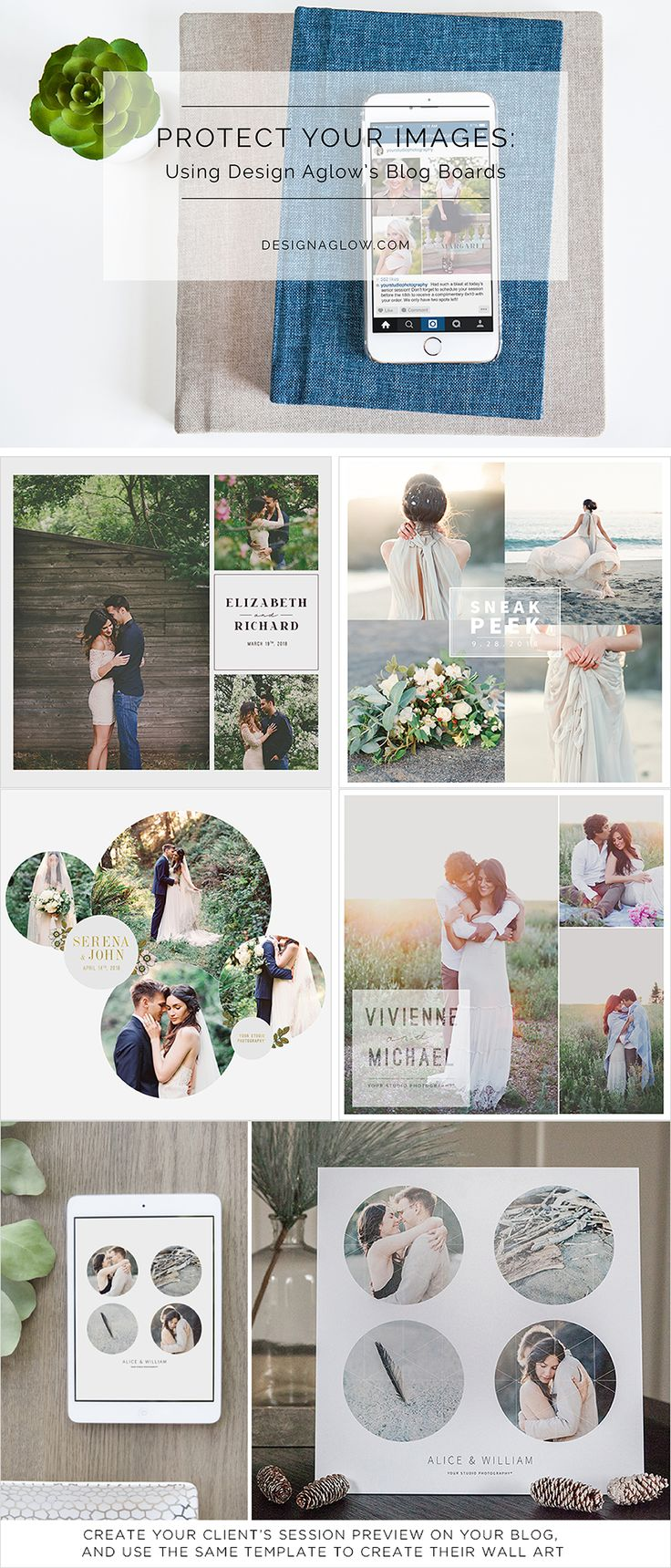 Protect your online images beautifully with Design Aglow's new Blog & Print Layouts: Timeless Elegance. #designaglow