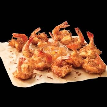 Joe's Crab Shack Coconut Shrimp-   Coconut Shrimp   1 pound medium to large fresh shrimp,  cleaned, shelled, butterflied   2 eggs   1/4 cups water   2/3 cups cornstarch   1 (7 ounce) package flaked coconut   1 tablespoon sugar   1 teaspoon salt   1/2 cups flour  Pineapple Dipping Sauce...