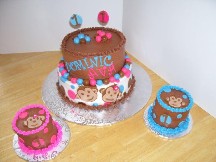 monkey smash cakes | twin monkey cake and polka dots with smash cakes - Cake Decorating ...