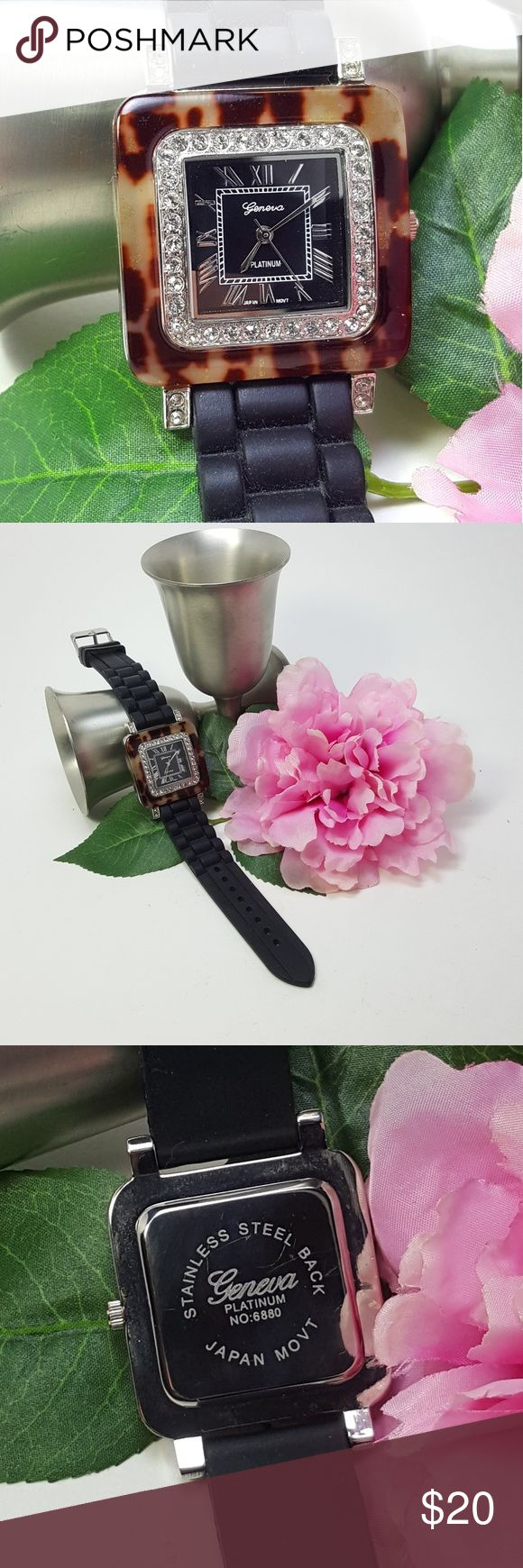 Geneva Platinum Black Silicone Tortoise Watch Wonderful women's watch by Geneva Platinum Black Silicone strap with Tortoise square face and crystal bezel. 9.5 L, brand new battery. Excellent condition. Geneva Platinum Accessories Watches