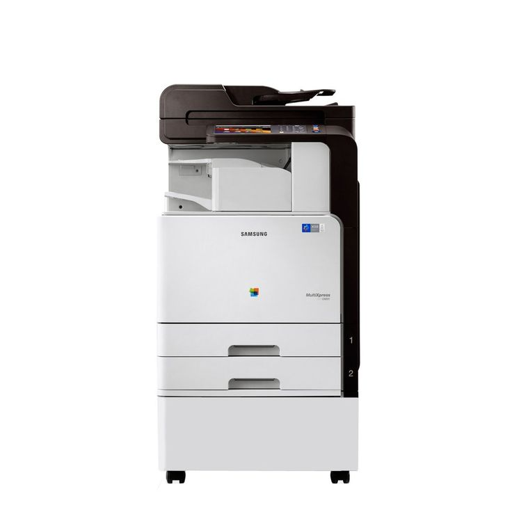"""Refurbished Samsung MultiXpress C9301NA A3 Color Copier - Copy, Print, Scan, E-mail, Network, 2 Trays and Stand. Standard Functions: Copy, Print, Scan, E-mail, Network Print/Scan. Copy/Print Speed: Up to 30 ppm black-and-white / color. Maximum Paper Size: Up to 11"""" x 17"""" or A3. Standard Trays: 2 x 520 sheets + 100-sheet Bypass tray. Professionally Refurbished, Unit and Power Cord Only."""