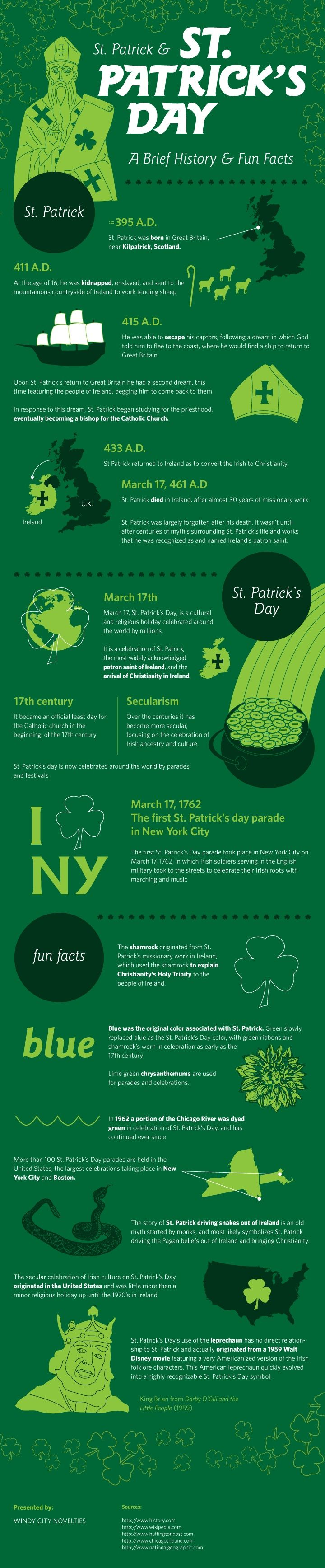 History lesson! St. Patrick & St. Patrick's Day: A Brief History & Fun Facts [INFOGRAPHIC]