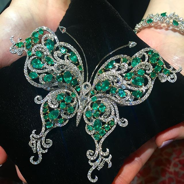Belford Jewellery. We had created many Emerald jewellery, this butterfly brooch has to be the most stunning butterfly ever!!! #belforddesign #