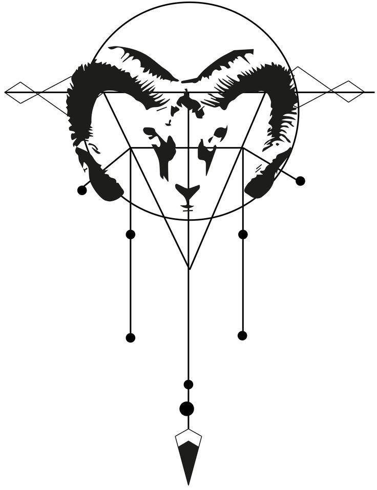 Goemetric Aries Tattoo Variation