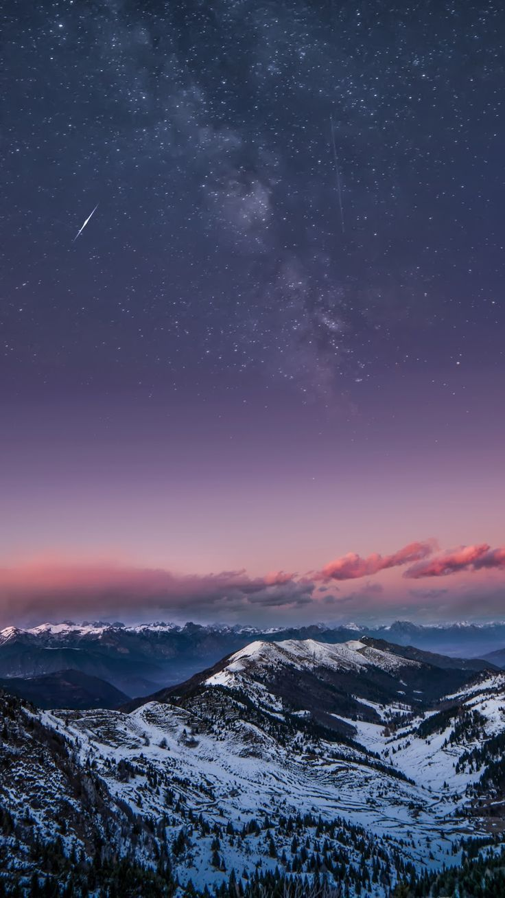 Mountain In The Starry Night Wallpaper Iphone Android