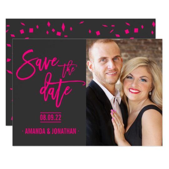 hot pink and #dark #grey #wedding #savethedate #photo Card
