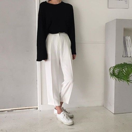 minimal outfit   black white common projects