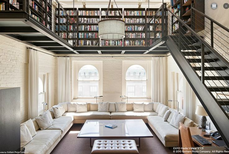 Library (from penthouse apartment of the Dietz Lantern Building in Tribeca, NYC)