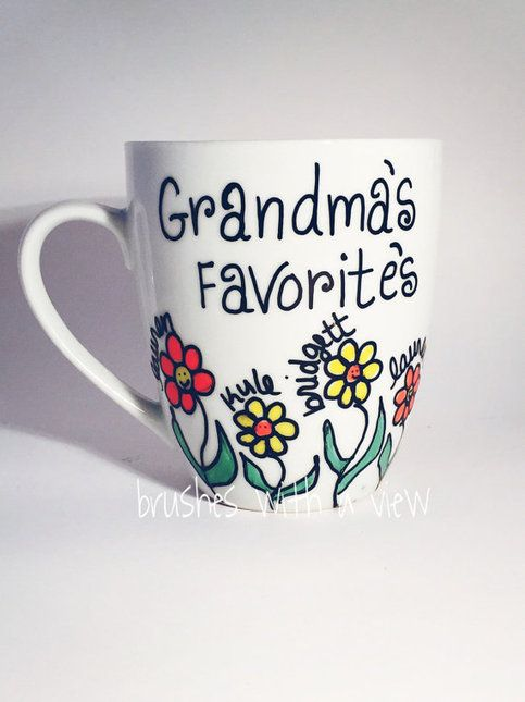 Grandma mug, hand painted grandmother coffee mug , Grandmas favorites personalized which names around the flowers.  What a wonderful Mother's Day gift for your Grandmother personalized and custom with names, Please leave names in the notes upon ordering. If you need more name the will be paint...