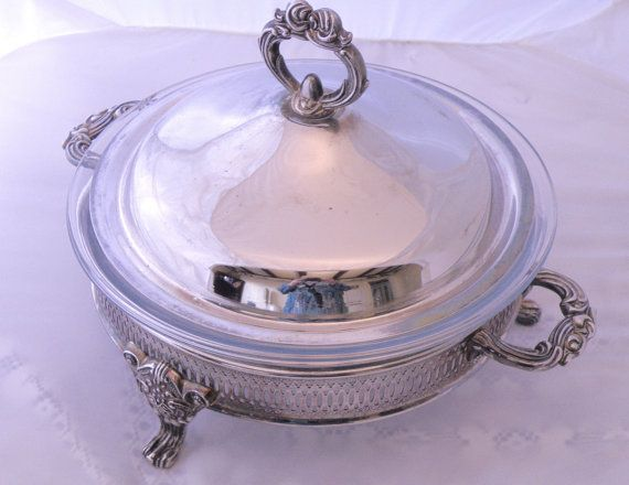 Vintage covered silver-plate casserole or pie buffet server. Made by the Regal Company. Buy now and use coupon code FRIDAY2014 for 20% discount https://www.etsy.com/ca/listing/212750456/covered-casserole-or-pie-buffet-server