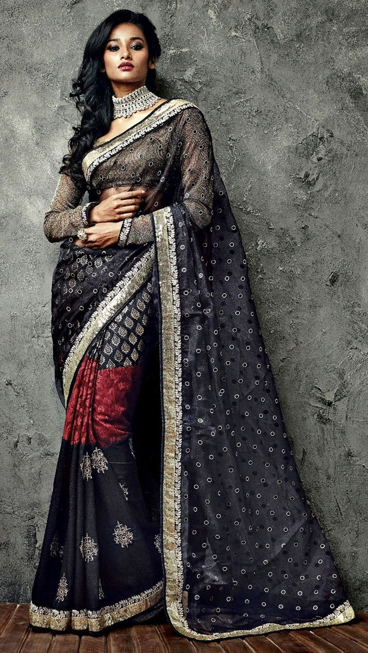 'Woman in Black Saree with a cream blouse iifa 2014, @ INR 7200/- worldwide shipping and COD available.