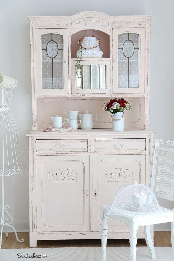 Küchenbuffet, Küchenschrank In Pastell Rosa, Shabby Chic