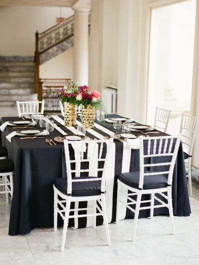 Striped table: http://www.stylemepretty.com/washington-weddings/spokane/2015/06/19/black-and-white-spokane-wedding-inspiration-with-pops-of-color/ | Photography: Park Road - http://parkroadphotography.com/
