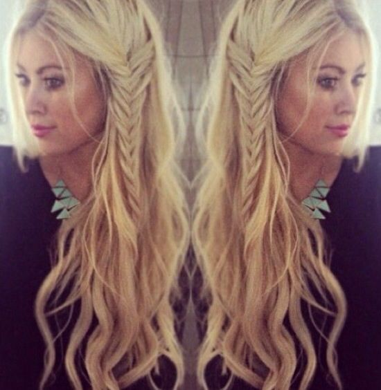 Boho look, with beach waves and a fish tail braid