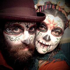Image result for dia de los muertos makeup man beard