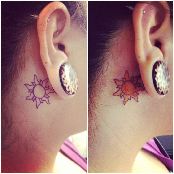 Tangled sun ear tattoo tattoo party pinterest for Tangled sun tattoo