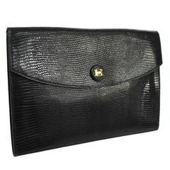 Hermes Rare Vintage Black Lizard Leather Gold Attache Envelope Evening Flap Bag