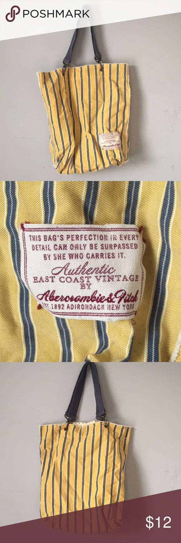 Cute Abercrombie and Fitch tote Super cute striped tote. Blue, yellow and white with pocket inside. Abercrombie & Fitch Bags Totes