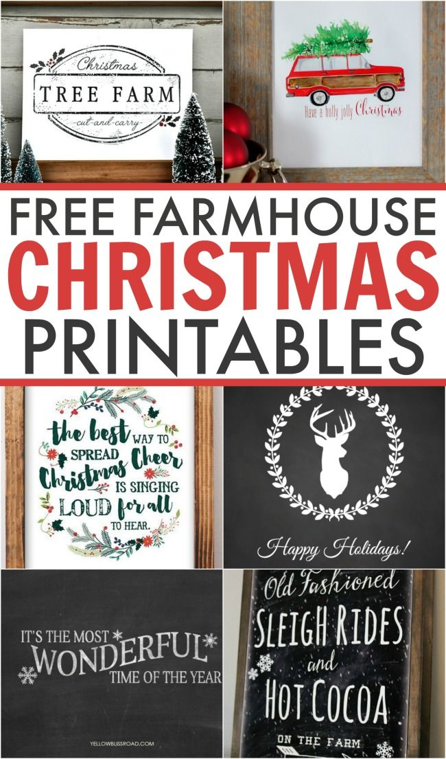 Spruce up your home for free this holiday season with these 6 gorgeous Farmhouse Christmas Printables. Perfect for any lover of farmhouse style. #Christmas #farmhouse #printables #free #art #holidays