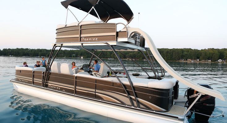 Double terrace deck pontoon boat with a slide - from Premier Pontoons. Yes please for the river outside my future home.