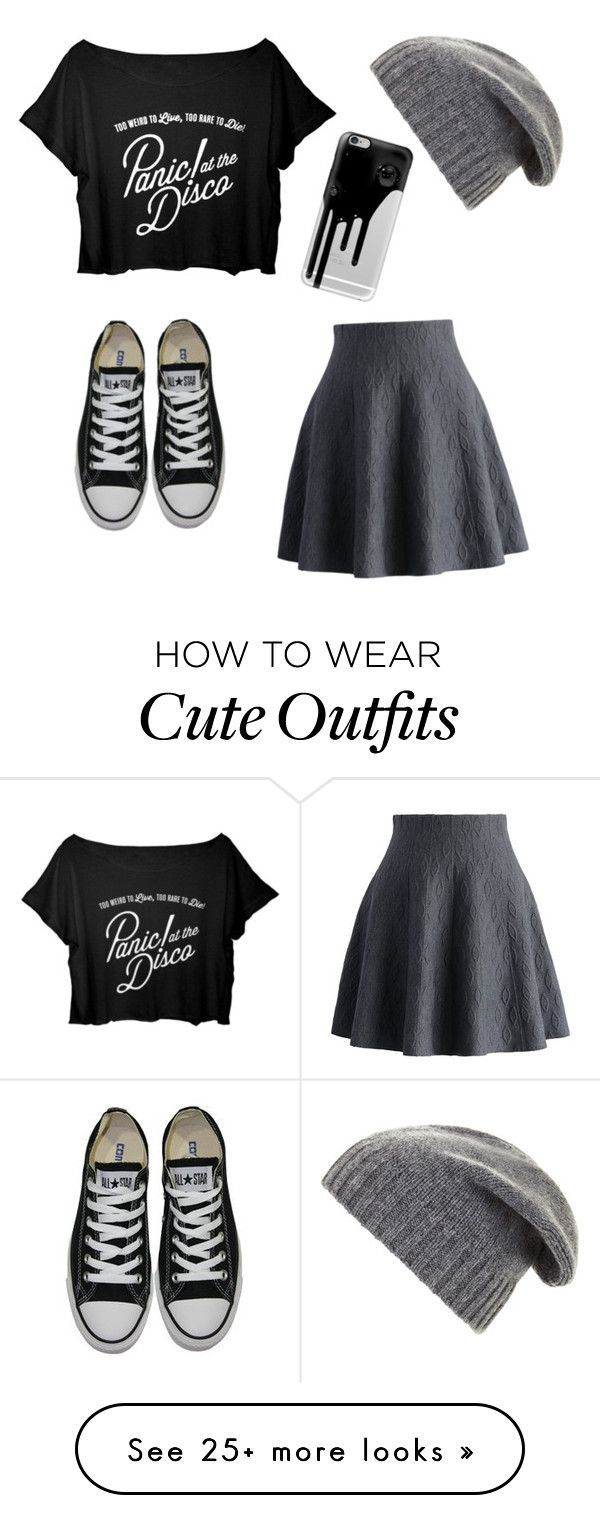 """Cute 'Panic! at the disco' outfit"" by cailinstar on Polyvore featuring Chicwish, Converse, BCBGMAXAZRIA and Casetify More"