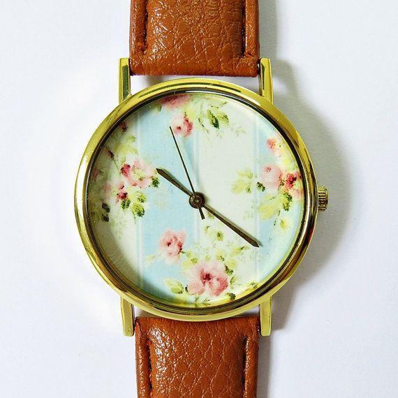 Grandma's Wallpaper Floral Watch, Vintage Style Leather Watch, Women Watches, Boyfriend Watch, Ladies Watch