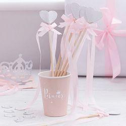 Baguettes Princesse et Fée rose pastel et glitter argent
