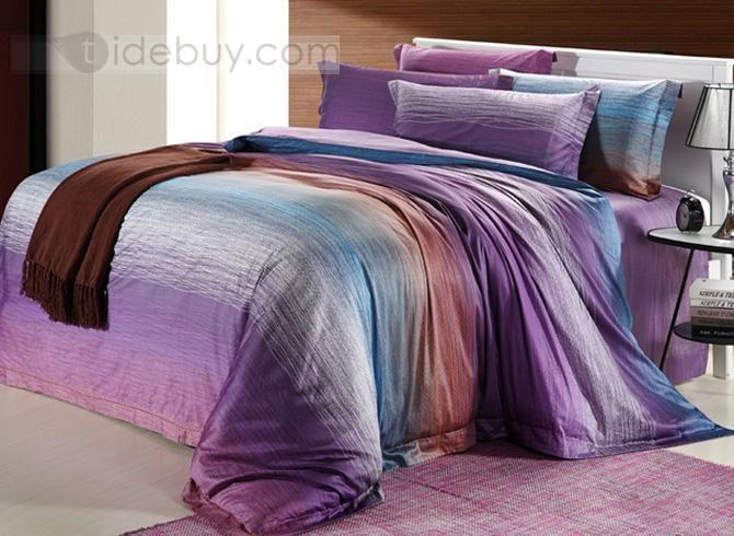 素晴らしいブルーパープルコットン4点寝具セット