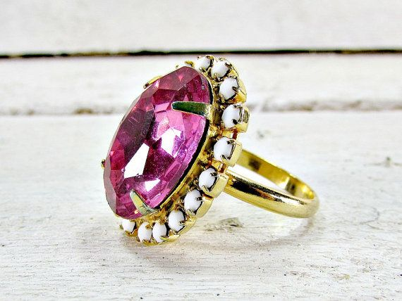 Vintage Statement Cocktail Ring, Pink Rhinestone Ring, Oval Crystal Ring, White Milk Glass Ring, Gold Adjustable Ring, 1960s Costume Jewelry by RedGarnetVintage on Etsy